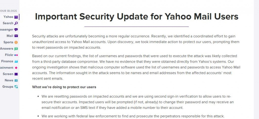 Yahoo Mail security update