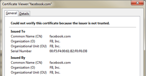 facebook fake SSL certificate