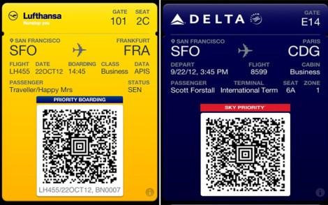 Passbook Apple app boarding pass