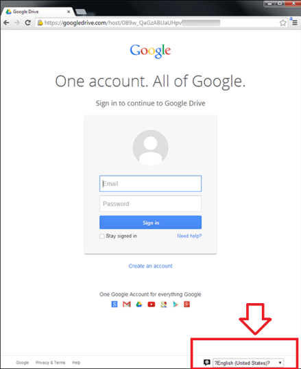 Google Drive scam page