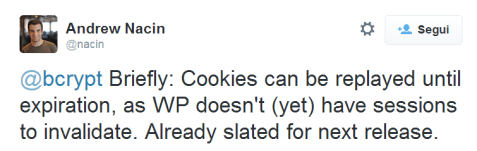 WordPress cookie tweet improvement