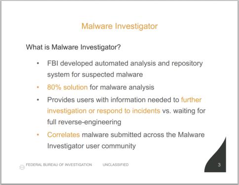Malware Investigator slide