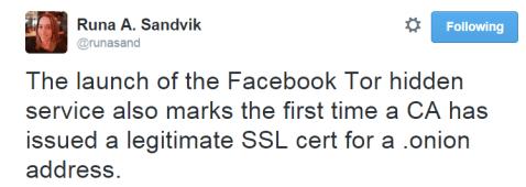 Facebook Tor hidden service