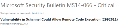 Microsoft Security Bulletin MS14-066 - Critical