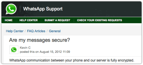 WhatsApp client encryption