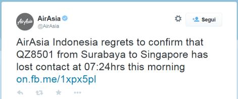 AirAsia QZ8501 Tweet