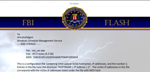 wiper malware FBI flash warning