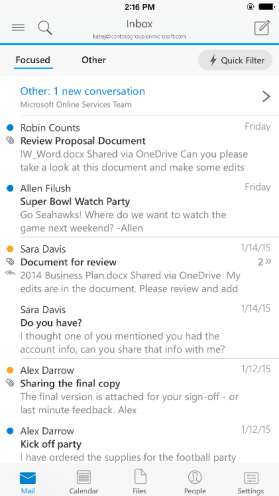 iOS Outlook app
