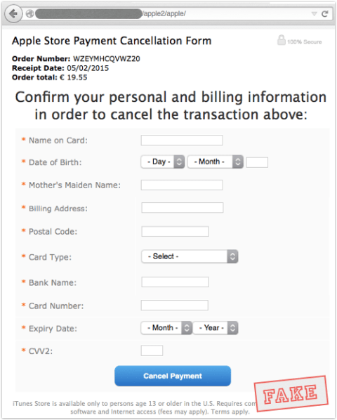 icloud phishing cancellation form