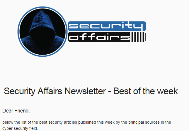Security Affairs newsletter Round 212 – News of the week
