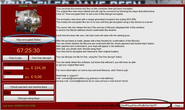 CoinVault malware