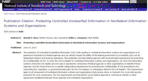 NIST Guidelines subcontractor