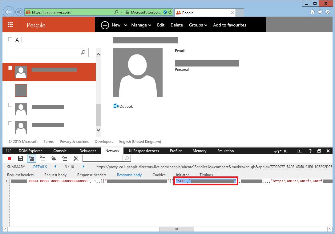 Microsoft sites expose visitors' identifier CID in plain