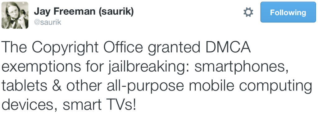 Saurik Copyright DMCA Jailbreaking