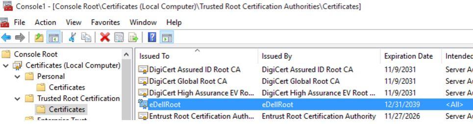 eDellRoot certificate