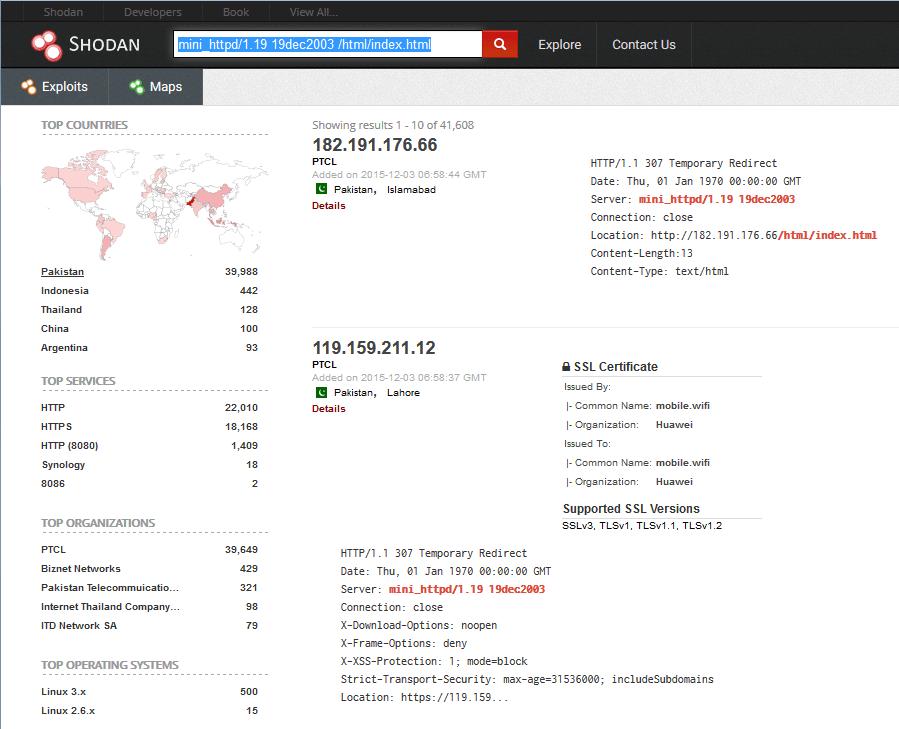 dongles modems hacking shodan