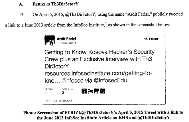 Ardit Ferizi ISIS member doxing DoJ accusation 2