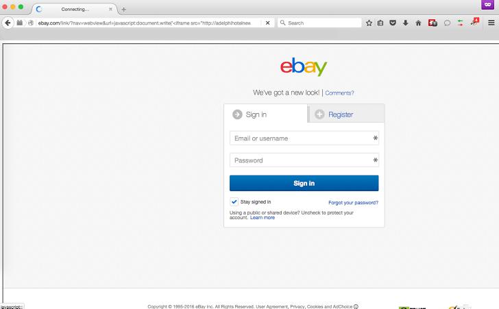 ebay bogus login page xss flaw