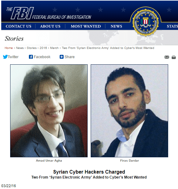 syrian electronic army FBI most wanted