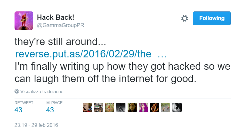 PhineasFisher breached hacking team Tweet