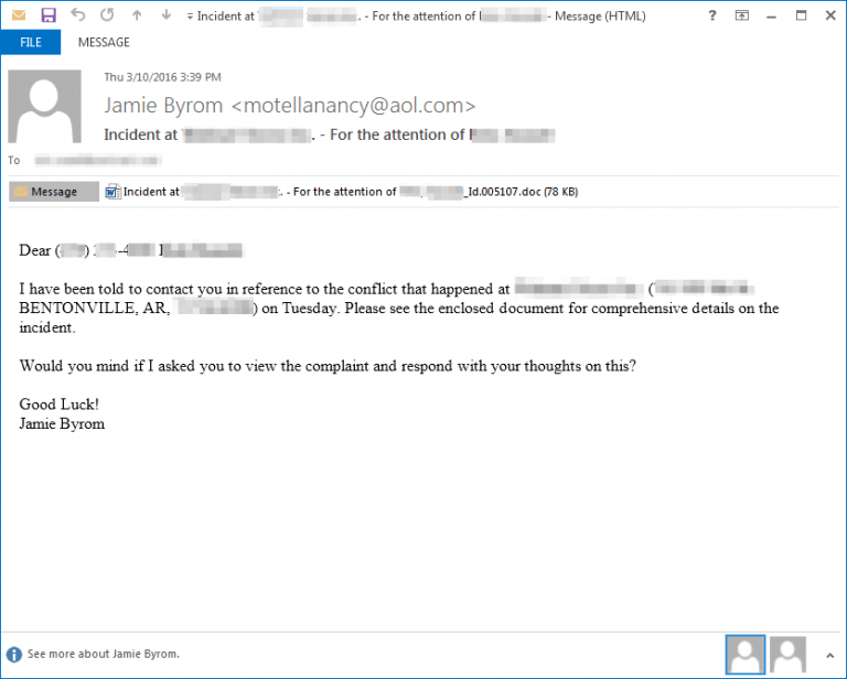 TA530 group spear-phishing ransomware email