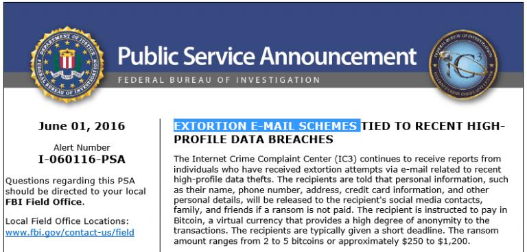 FBI extortion email schemes