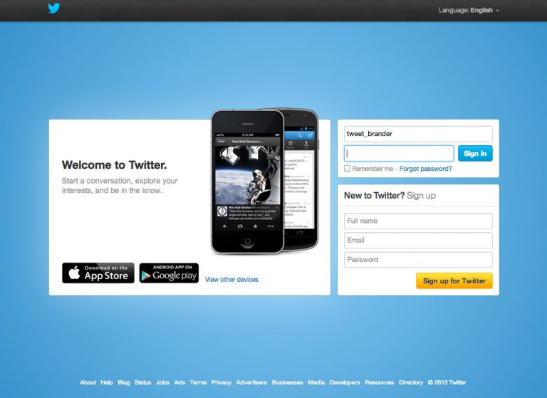 Twitter account login credentials