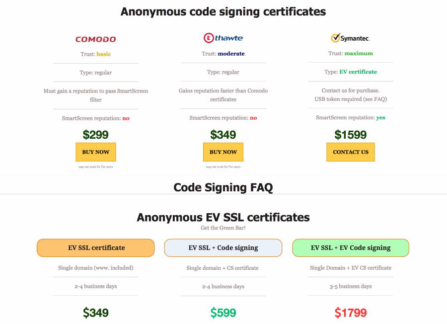 code-signing certificates offer