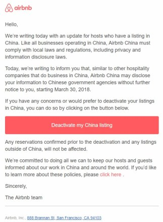 Airbnb China email-copy  - Airbnb China email copy - Airbnb China will share hosts information with the governmentSecurity Affairs