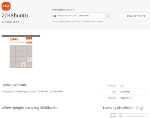 2048buntu-game ubuntu snap store