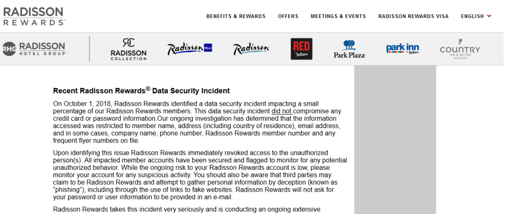Radisson Rewards-breach