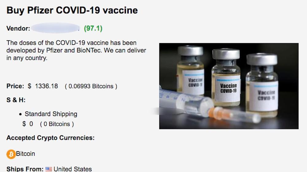 Pfizer vaccine darknet