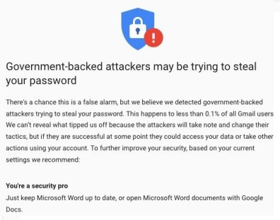 Google sent over 50,000 warnings of state-sponsored attacks, +33% from same period in 2020