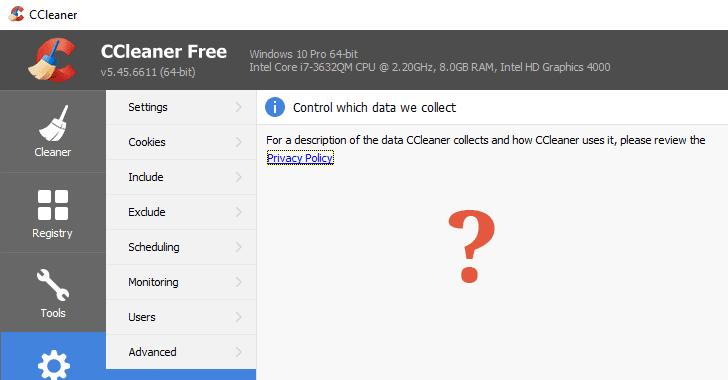 securitydaily CCleaner 5.45 thu thập dữ liệu người dùng cho bên thứ ba