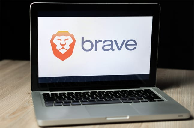 Brave browser running on a laptop