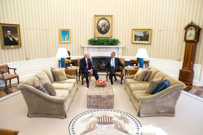 President-elect Donald Trump visits Barack Obama in the Oval Office. Photo from whitehouse.gov