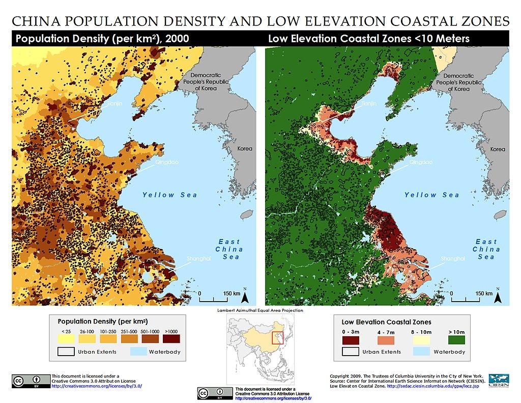 Maps » Low Elevation Coastal Zone (LECZ)   SEDAC