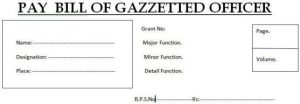 Pay Bill Form for Gazetted Officers