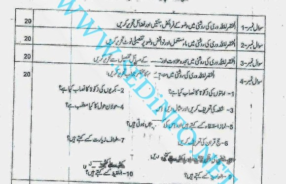 Code 241 Matric AIOU Past Papers S2012