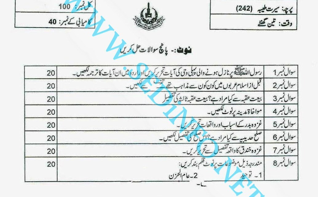 Matric-Code-242-AIOU-Past-Papers-Autumn-2013