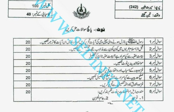Code 242 Matric AIOU Past Papers A2013