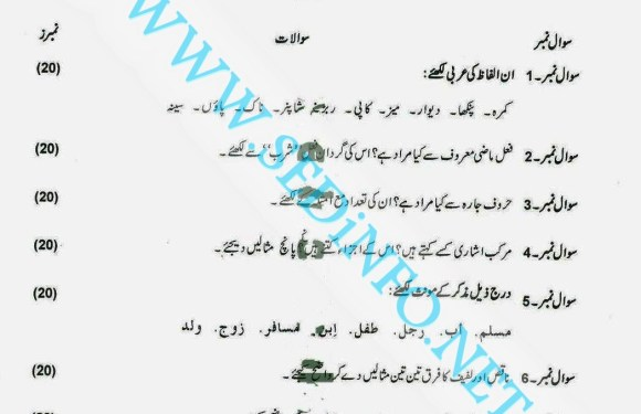 Code 246 Matric AIOU Past Papers A2012