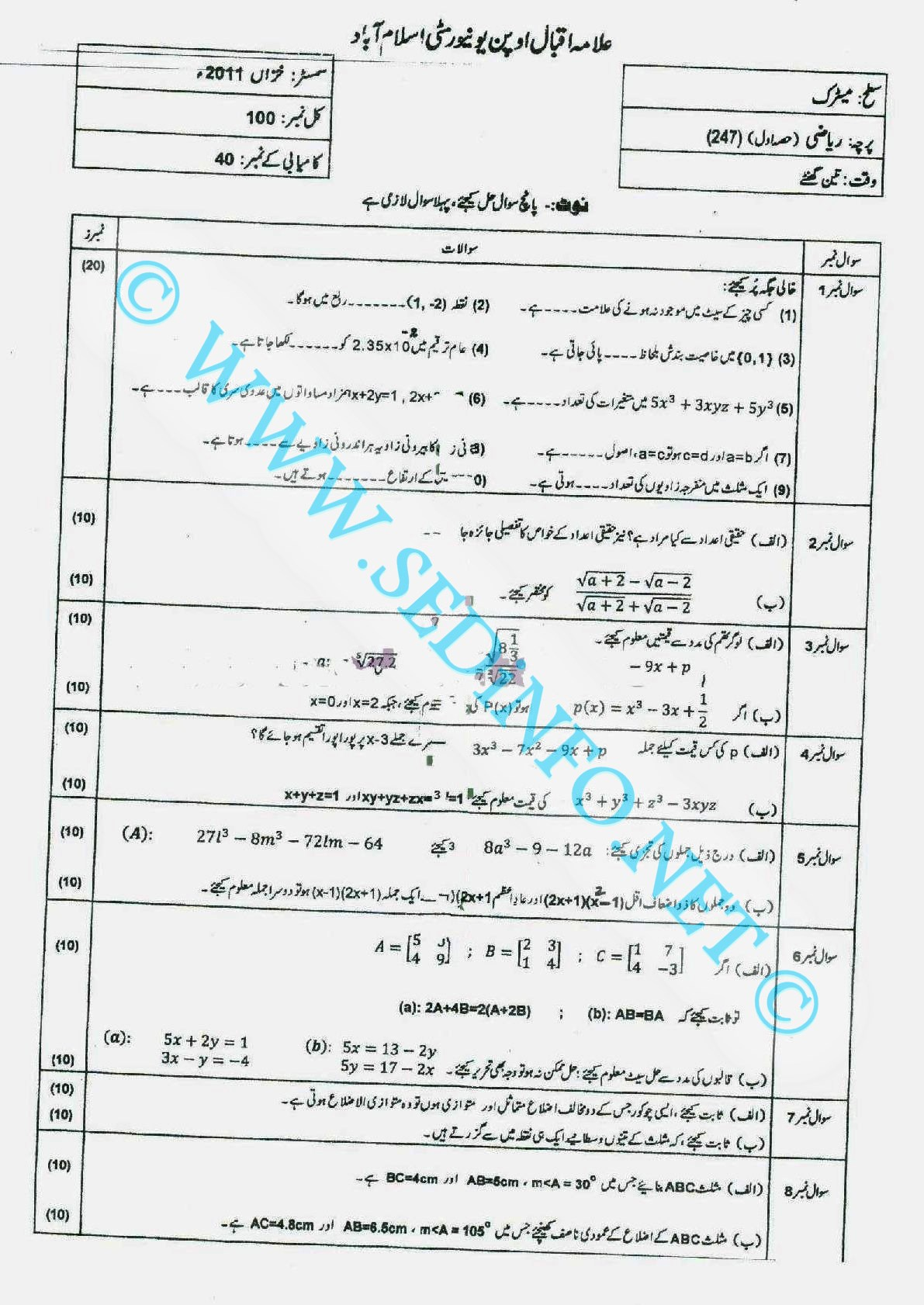 Code 247 Matric AIOU Past Papers A2011