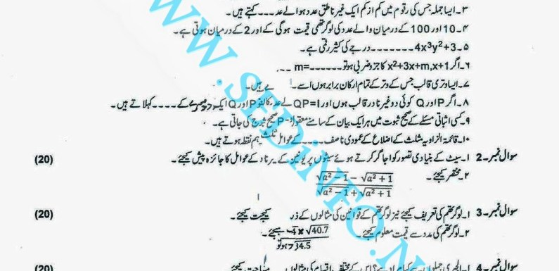 Code 247 Matric AIOU Past Papers S2013