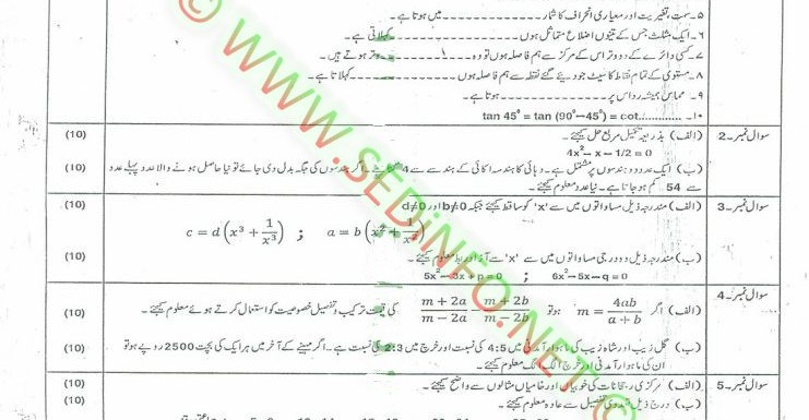 Code 248 Matric AIOU Past Papers S2010