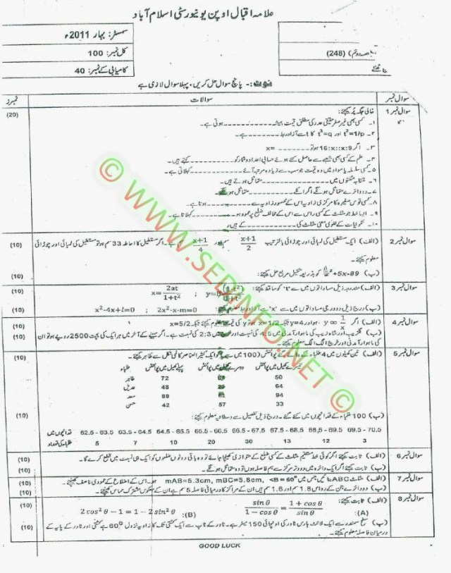 Matric-Code-248-AIOU-Past-Papers-Spring-2011