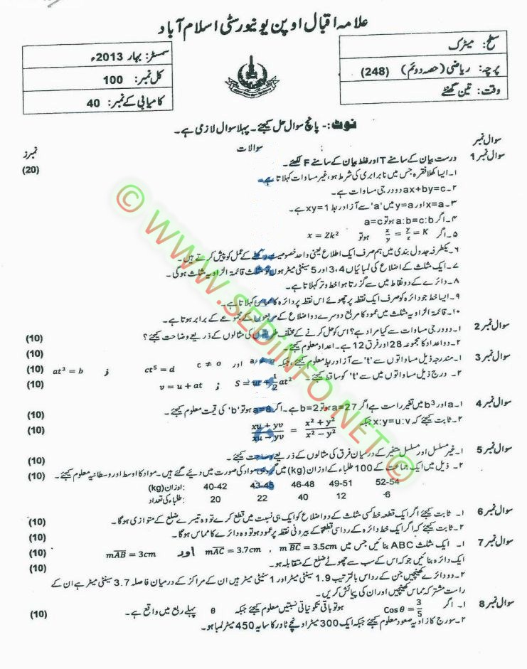 BEd Code 8628 AIOU Past Papers Spring 2017