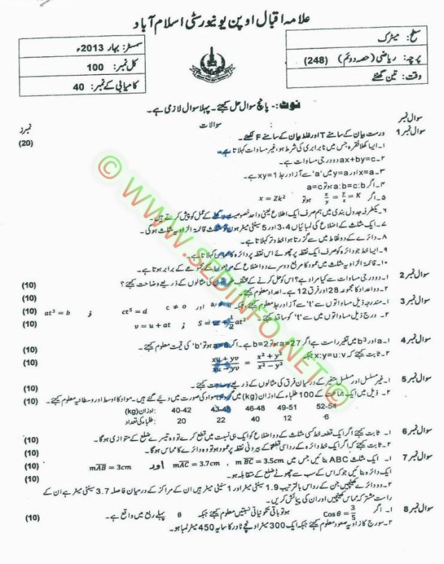 Matric-Code-248-AIOU-Past-Papers-Spring-2013