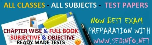 Chapter wise Full Books Test Papers