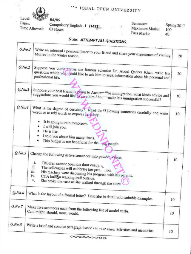AIOU-BCOM-Code-1423-Past-Papers-Spring-2017